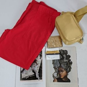 Red Tribeca Utility Crop Pants